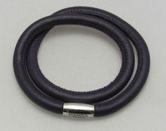 """New Authentic Endless Purple Double Leather & Steel 40cm/16"""" Long Bracelet  #Endless #European"""