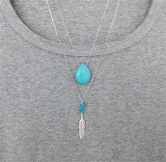 Turquoise and Silver Feather Long Necklace by PollyAJewellery