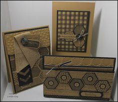 Stampin' Up! ... hand crafted trio of cards featuring stamped and punched hexagons ... from King's on Paddington blog ... kraft with black stamping ... luv the three layout designs ...