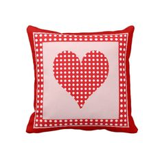 """Red and White Polka Dot Heart Pattern. Throw Pillow 20"""" x 20""""."""