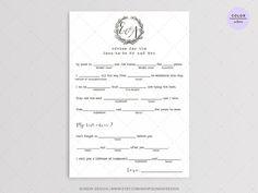 Love Note Wedding Mad Libs Printable Digital File by SundayDesign