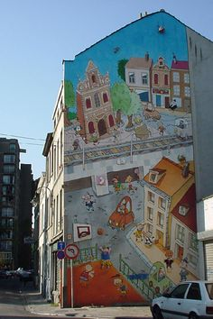 Comic strip mural in Brussels, Belgium - photo by Wim de Koning Gans, via pbase