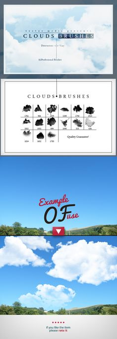 Clouds Brushes Photoshop #design #brushes #ps Download: http://graphicriver.net/item/clouds-brushes/11399899?ref=ksioks