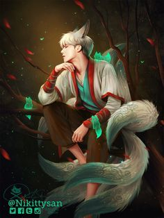nikittysan: XD Gyumiho the Nine Tailed Fox Demon Process fo. - nikittysan: XD Gyumiho the Nine Tailed Fox Demon Process for Gyumiho - Jimin Fanart, Kpop Fanart, Nine Tailed Fox, Fox Art, Bts Drawings, Bts Chibi, Bts Fans, Bts Pictures, Foto Bts
