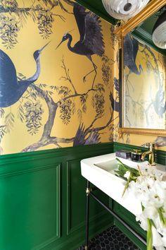 Home Room Design, Bathroom Interior Design, Living Room Interior, Interior Decorating, House Design, Powder Room Paint, Room Wallpaper, Wallpaper Powder Rooms, Elle Decor