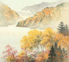 Arts of Koukei Kojima - tuantruong Japanese Landscape, Landscape Art, Landscape Paintings, Japanese Painting, Chinese Painting, Chinese Contemporary Art, Modern Art, Sumi E Painting, Golden Tree