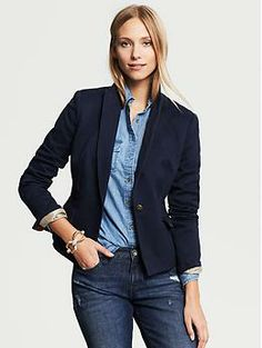 Heritage Navy One-Button Blazer