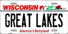 Great Lakes Wisconsin Background Novelty Metal License Plate