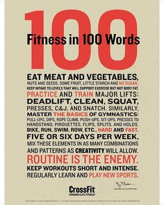 """12.9k Likes, 87 Comments - CrossFit (@crossfit) on Instagram: """"The Fitness in 100 Words Poster: Now Available  @crossfitstuff #CrossFitStuff #CrossFit"""""""