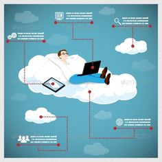 Happy Business Man on a Cloud Infographic - Computers Technology
