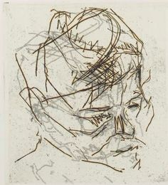 "Frank Auerbach - ""R.Kitaj"", 1980 - Etching - 15 x cm. Frank Auerbach, Francis Bacon, Lucian Freud, Life Drawing, Ap Drawing, Mark Making, Portrait Art, Portraits, Drawing Techniques"