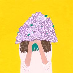 GIrl with flowers illustration by blacklambstudio