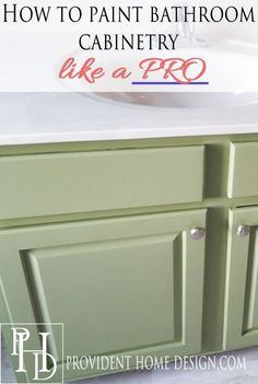 Come learn how to paint a bathroom vanity like a pro with this step by step tutorial. After 5 tries I finally found the perfect product and method and it not only looks and feels amazing but it is both simple and inexpensive to do!  www.providenthomedesign.com.
