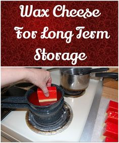 Wax Cheese For Long Term Storage. Great idea to store cheese, for gifts and emergency preparedness. Emergency Supplies, Emergency Food, Survival Food, Survival Prepping, Survival Skills, Emergency Kits, Survival Stuff, Urban Survival, Wilderness Survival