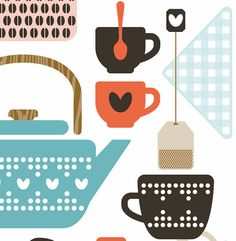 Cute coffee and tea print.