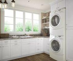 Arctic White Shaker RTA Laundry Room Cabinets