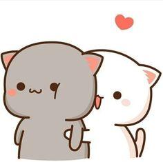 Cute Anime Cat, Cute Bunny Cartoon, Cute Kawaii Animals, Cute Cartoon Pictures, Cute Love Cartoons, Kawaii Cat, Cute Cat Gif, Cute Bear Drawings, Cute Little Drawings