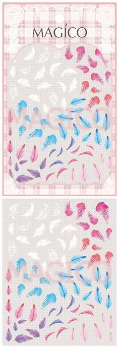 $4.91 Colourful Feathers Patterns 1 Sheet 3D Nail Art Stickers - BornPrettyStore.com