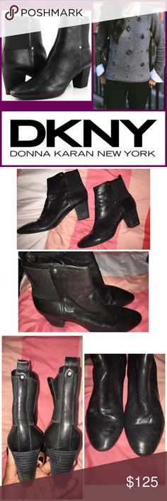 "DKNY Leather Booties Sz 8.5 Sexy and chic genuine leather DKNY Booties. These have small silver studs on each side. They feature a 2.5"" heel, comfortable sole, very soft leather, and clean soles and insoles. The leather is extremely soft and has a subtle sheen to it. In excellent condition, with minor wear. Leather is not disturbed nor scratched. A few tiny scuffs from wear that can be buffed out. These are a bit too big for me, so my loss, your gain. EUC. Sz 8.5 DKNY Shoes Ankle Boots…"