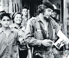 Che Guevara during the Cuban Revolution. To his left is his future wife (his second), Aleida March.
