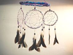 Dream Catcher - Magic Circles - With Clear White Gem Stone, Natural Black Duck Feathers and Light Purple Netts - Home Decor, Mobile  #photo #photography #art #dream #dreamcatcher #catcher #catcer #feather #feathers #love #lovely #white #black #pigeon #awesome #beautiful #bird #fly #birds #hippie #hipster #native #american #dreamer #bohemian #nice #lovely #unique  #child #children #gift #idea #craft #crafy #inspiration #cradle #purple #violet #transitional #gem #stone #crystal #white #clear…