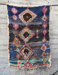 'Deep Blue Sea'  Moroccan Boucherouite Rug