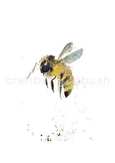 Craftberry Bush | Watercolor Bee Printable | http://www.craftberrybush.com