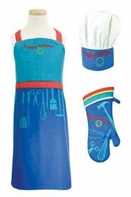 MUKitchen Happy Helper Kids 3-Piece MiniMu Chef Set (Apron, Hat & Mitt)