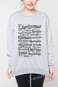 Hey, I found this really awesome Etsy listing at https://www.etsy.com/listing/189977402/harry-potter-spells-sweatshirts-book-of