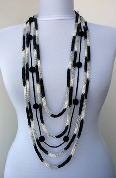 20% OFF SALE - 2 in 1 - Knit Scarflette and Crochet Necklace-loop scarf-infinity scarf-crocheted balls-grey,white,black (WAS 35)