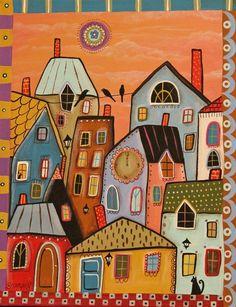 12 Noon 11x14 ORIGINAL CANVAS PAINTING houses city cats FOLK ART Karla Gerard #FolkArtAbstractPrimitive