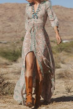 Vintage Style Plunging Neck 3/4 Sleeve Full Floral Print Elastic Waist Front Slit Women's Maxi Dress