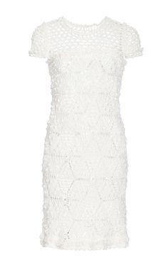 Ivory Twiggy Cap Sleeve Dress by Vanessa Montoro for Preorder on Moda Operandi