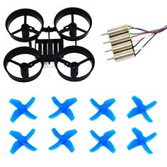 LHI RC Quadcopter Frame and 8pcs Propellers Blue with CL0615 Blade Nano QX  Blade Fast Upgraded Motors for Eachine E010 Blade Inductrix Tiny Whoop * Continue to the product at the image link.