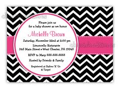 Black And White Chevron With Any Color Baby Shower, Birthday or Any Event Invitation (Digital File). $14.00, via Etsy.
