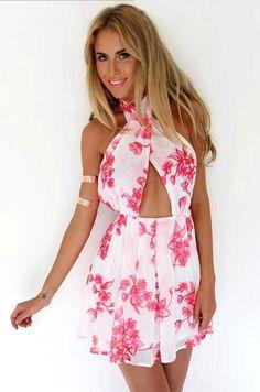 Summer Cross Front Hollow Pink Flowers Printed Mini White Chiffon Dress
