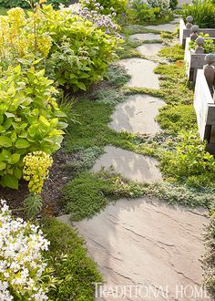 French-Inspired Garden in the Pacific Northwest Herb Garden Path with Stepping Stones Made of bluestones Low Maintenance Landscaping, Low Maintenance Garden, Landscape Maintenance, Outdoor Rooms, Outdoor Gardens, Farm Gardens, Front Gardens, Small Gardens, Indoor Garden