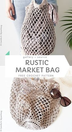 Rustic Market Bag Free Crochet Pattern Best Crochet Market Bags With Free Crochet Patterns Springtime is the best way to go out explore your nearby farmer's markets. You can get fresh produce there, and make yummy healthy dinner out o Crochet Diy, Crochet Gratis, Crochet Ideas, Crochet Storage, Crochet Stitches, Crochet Patterns, Crochet Bag Tutorials, Crochet Bag Free Pattern, Hobo Bag Tutorials