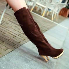Pull On Stilettos Faux Suede Womens Knee High Boots Winter Fashion Boots Plus Sz in Clothing, Shoes & Accessories, Women's Shoes, Boots High Heel Boots, Suede Boots, Winter Fashion Boots, Dress With Boots, Womens High Heels, New Shoes, Over The Knee Boots, Riding Boots, Stilettos
