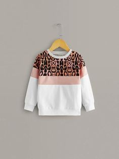 Toddler Girls Cut And Sew Leopard Print Sweatshirt – Kidenhouse Girls Cuts, Designs For Dresses, Printed Sweatshirts, Hoodies, Types Of Sleeves, Full Sleeves, Casual, Toddler Girls, Clothes