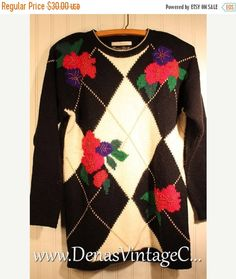 50% Off SALE Ugly Christmas SweateWith Flowers Metallic with Gold Beads Tacky Sweater Small