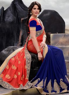 Bedazzling Georgette Blue and Red Embroidered Work Designer Half N Half saree