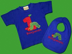 Caterpillar with Birthday Number Boy's Top and Bib by SunbeamRoad, $37.50