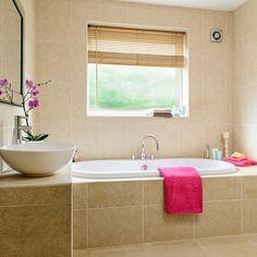 bathroom Beige Classic - Neutral bathroom with travertine tiles. Travertine Bathroom, Neutral Bathroom, Modern Bathroom, Small Bathroom, Bathroom Ideas, Tranquil Bathroom, Shower Ideas, Bathroom Colours, Travertine