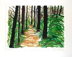 Late Summer original hand printed monotype painting print - pinned by pin4etsy.com