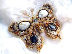 Bead embroidered butterfly brooch Louise Veronica by MadameElegant, $129.00