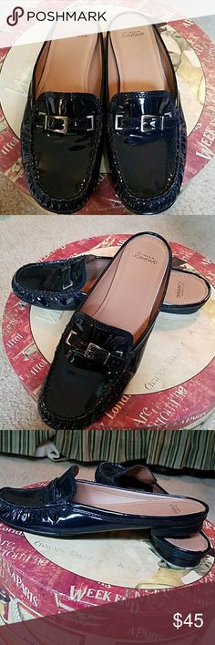 Blue patten leather mules Unique navy mules. Like new! Super comfy Circa Joan & David Shoes
