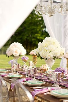 Love the flower arrangements + color combo