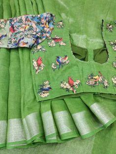 Linen saree @tanvika sarees for orders 9047090885