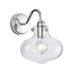 Norwell Lighting Clara Single Sconce 8261-CH-CL  #sconce #bathroomlighting #roundbackplate #glassdiffuser